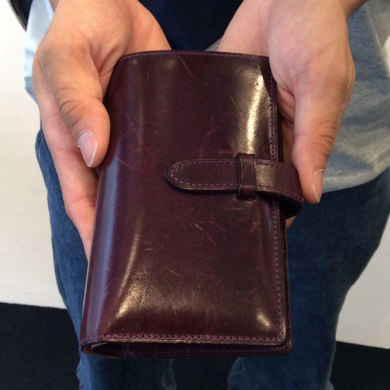 20代 男性 /ストラップ付縦長二つ折り財布 Fasten  パープル