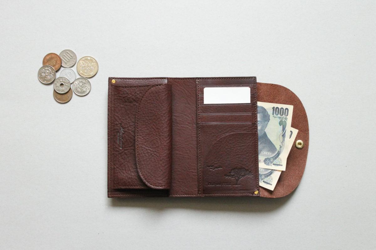 ボックスレザーを使用した三つ折り財布 Mood