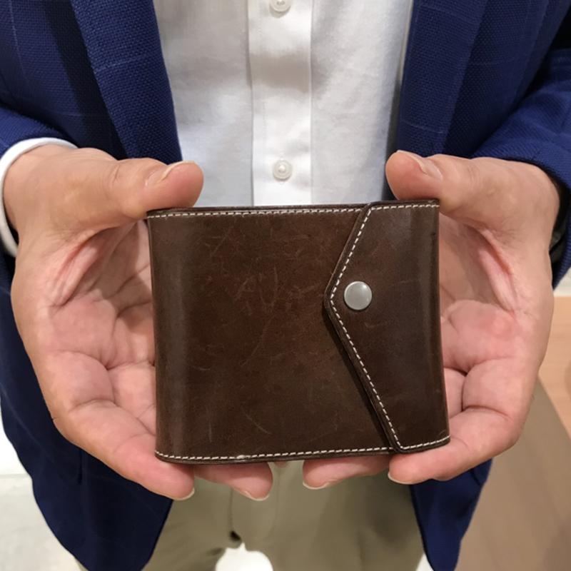 60代 男性 / マネークリップ型財布 Carriage (内ヌメ) ブラウン