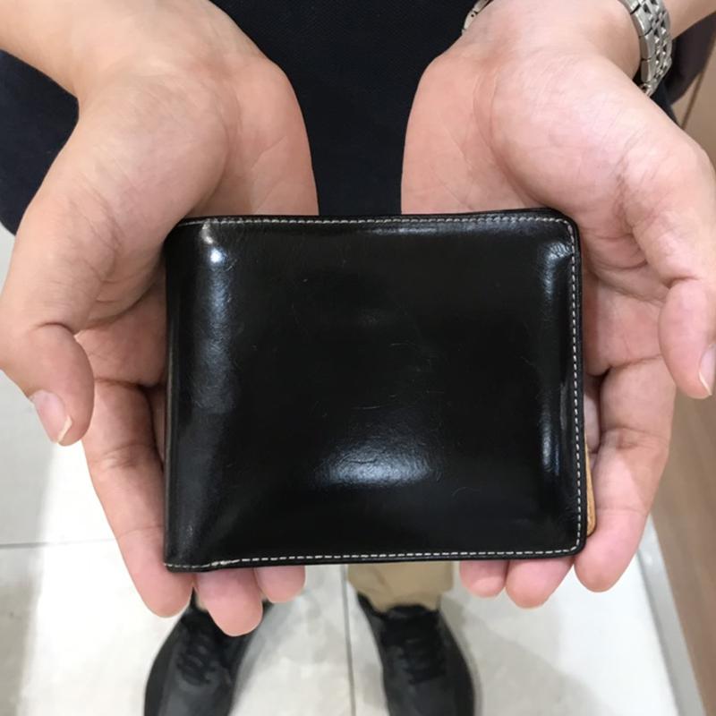 30代 男性 / 二つ折り財布 Feel Coin (内ヌメ) ブラック