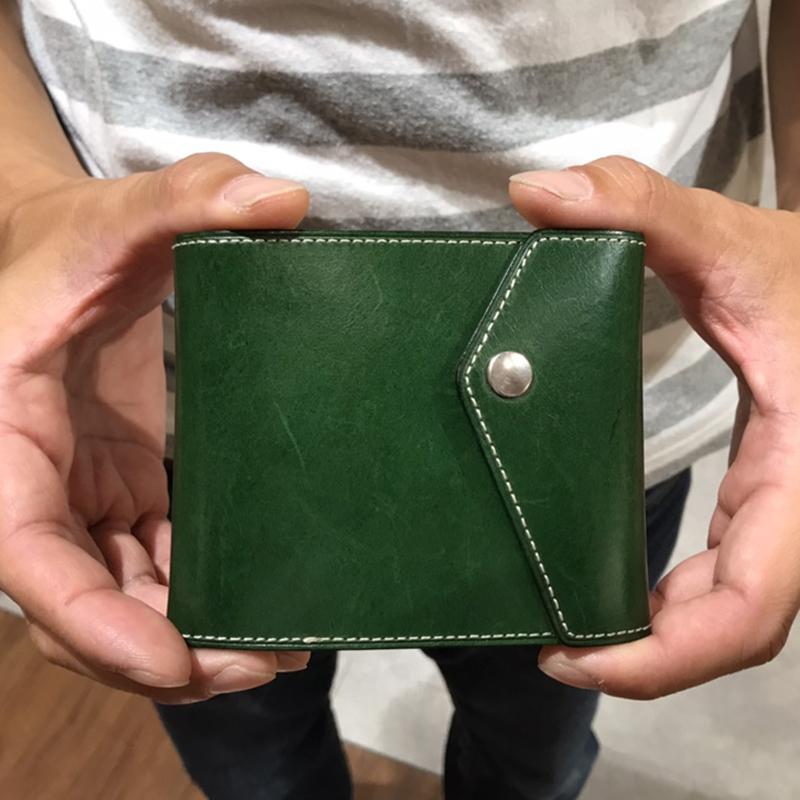 30代 男性 / マネークリップ型財布 Carriage (内ヌメ) グリーン