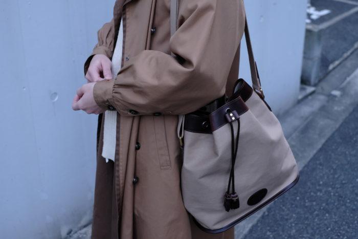 レザー×コットン巾着ショルダーバッグ