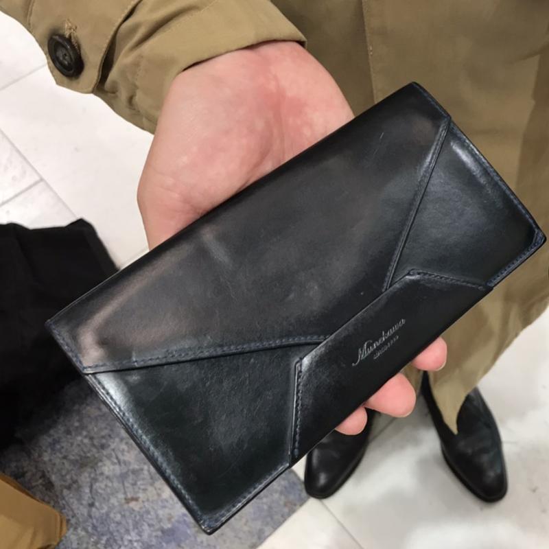 40代 男性 / 封筒型長財布 Encase ブルー