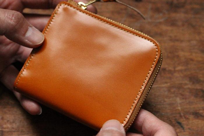 コードバン、イエローのL字ファスナー財布 Cram