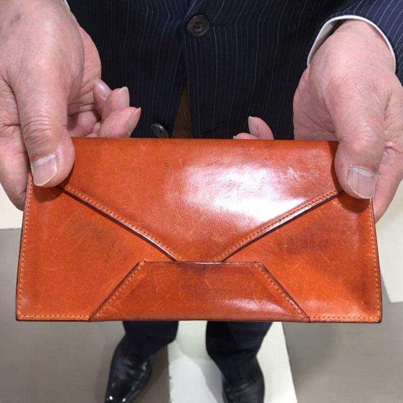 男性 / 封筒型長財布 Encase オレンジ